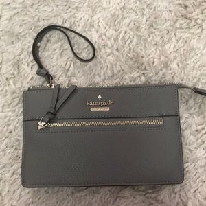 New Kate spade gray/taupe colored wristlet